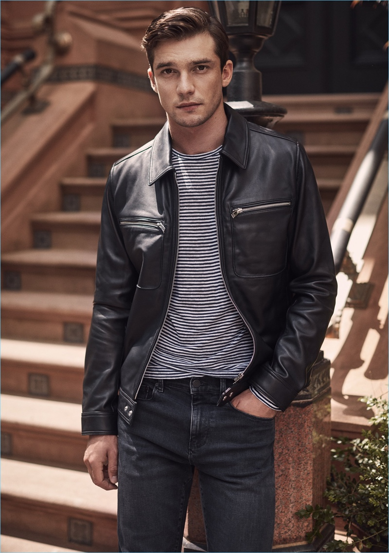The New Leather Jacket: Alexis Petit models a Reiss leather jacket with a striped t-shirt.