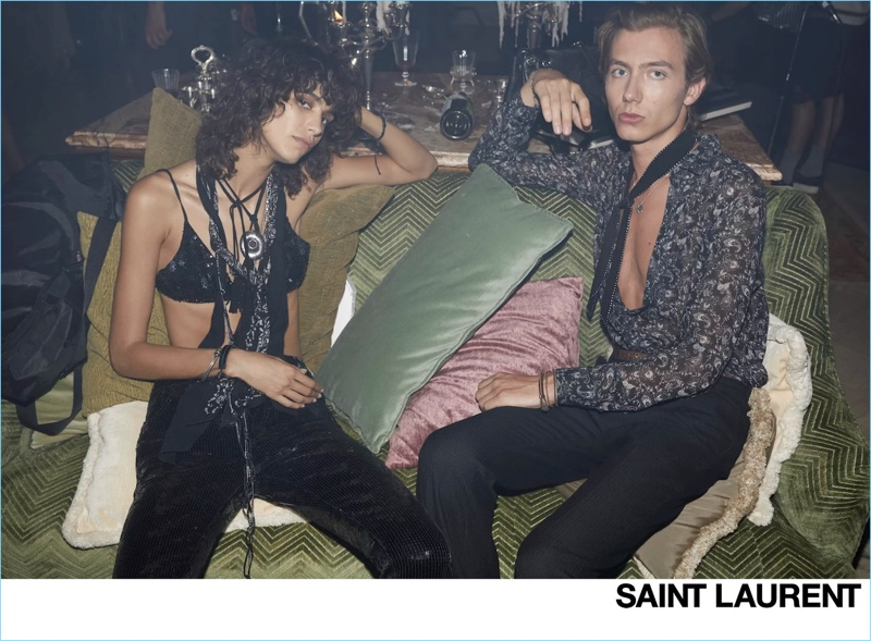 Mica Argañaraz and Paul Hameline front Saint Laurent's spring-summer 2019 campaign.