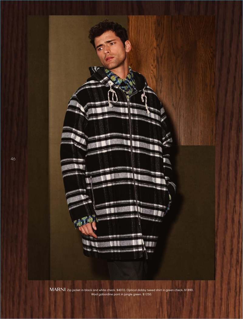 Making a case for checks, Sean O'Pry dons an oversized Marni jacket.