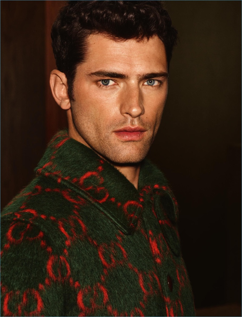Sean O'Pry wears a Gucci coat for Holt Renfrew.