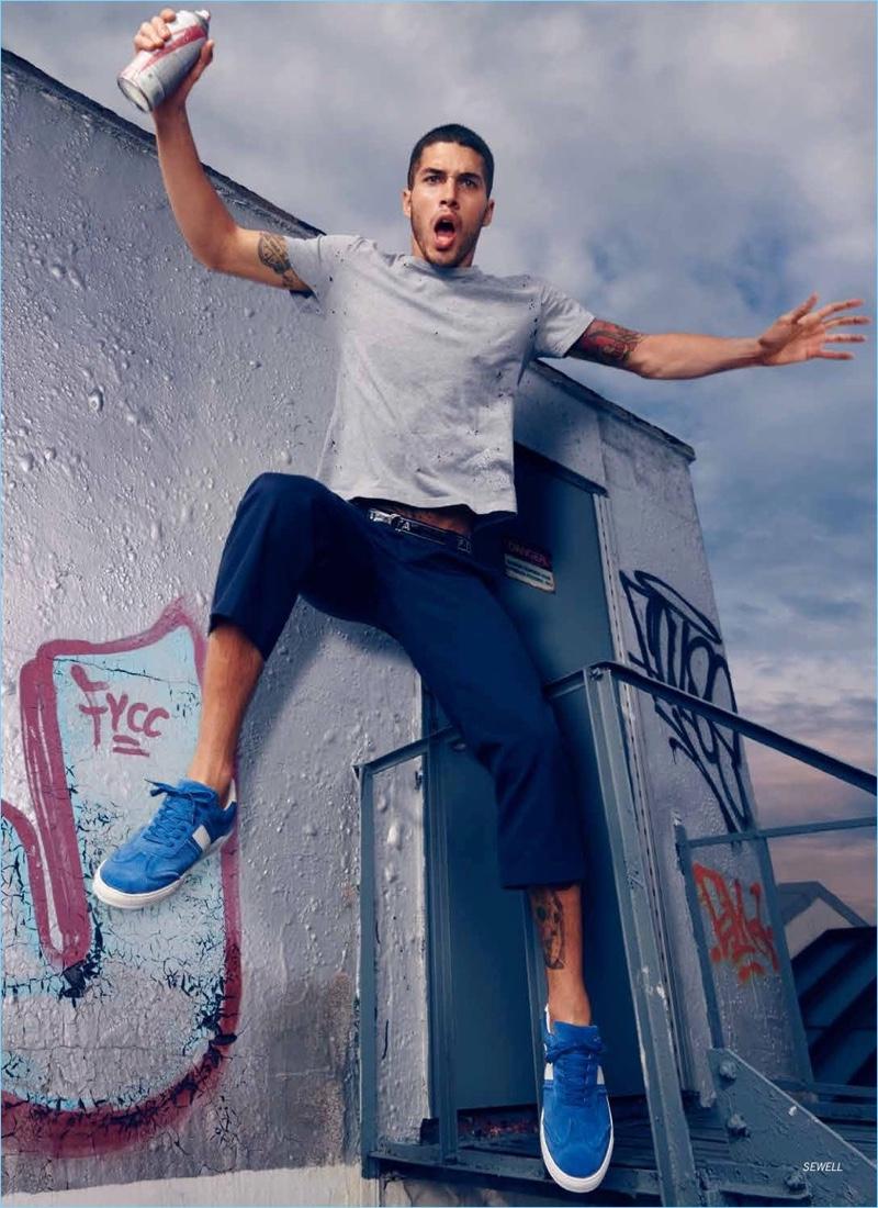 Model Daniel Angulo appears in Steve Madden's fall-winter 2018 campaign.
