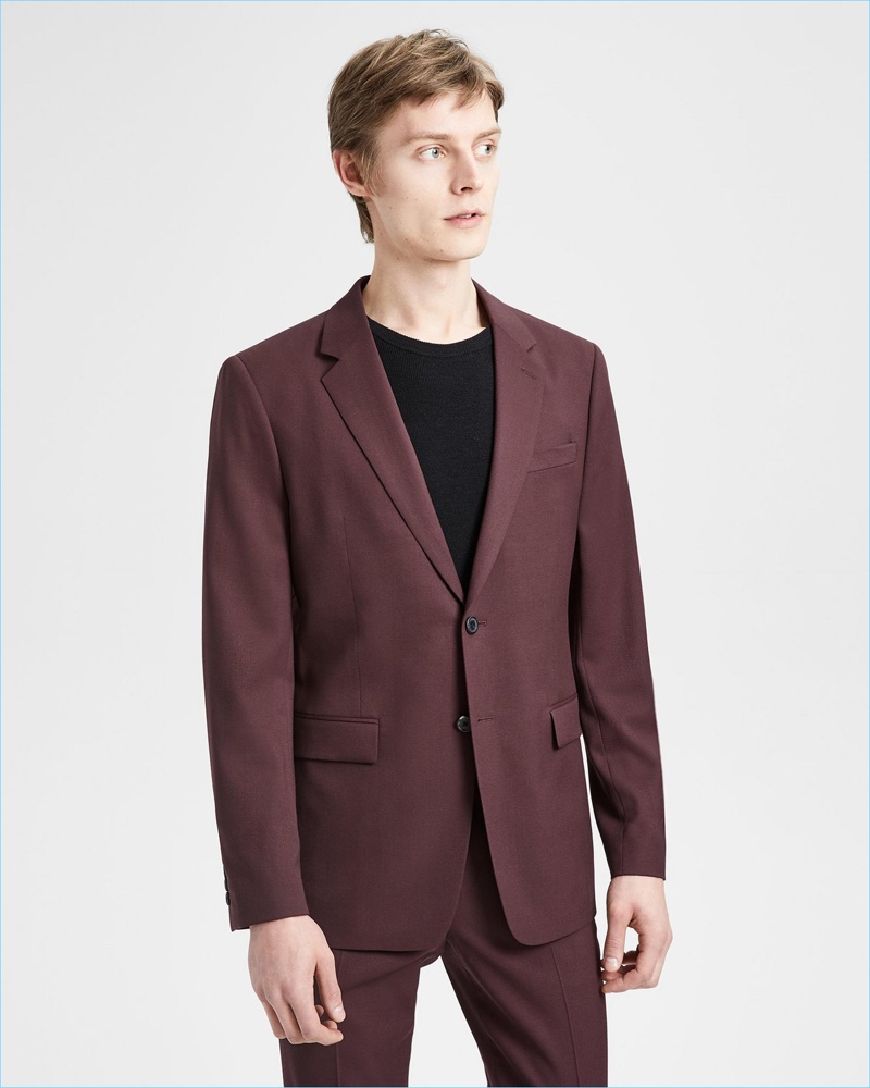 Janis Ancens models Theory's Good Wool suit in malbec.