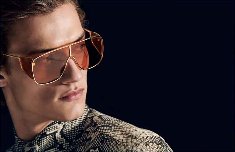 Model Serge Rigvava dons sunglasses for Tom Ford's fall-winter 2018 men's campaign.