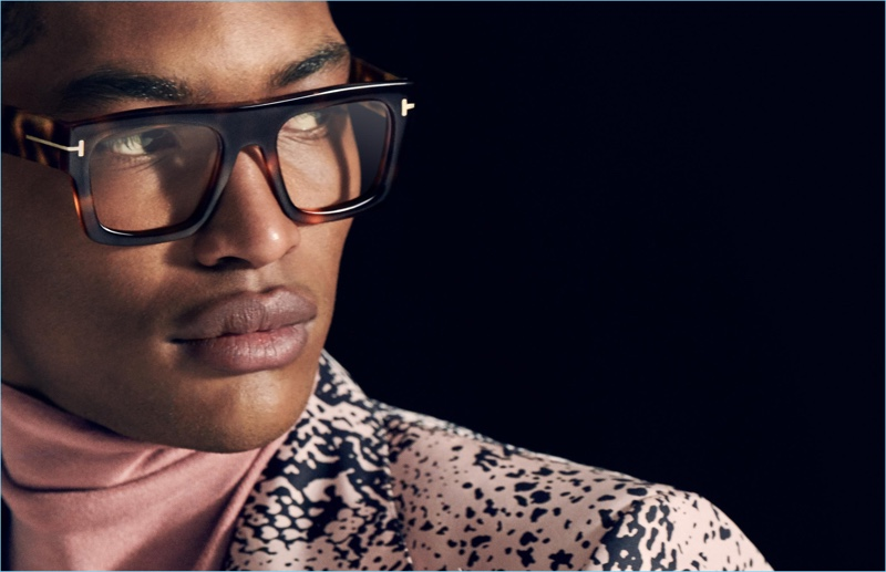Newcomer Timothy Lewis dons eyewear for Tom Ford's fall-winter 2018 men's campaign.