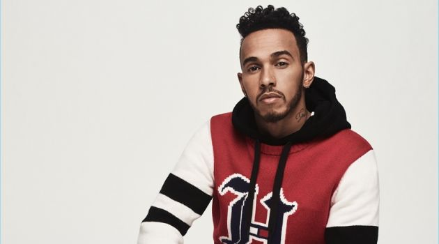 Lewis Hamilton wears a look from his fall-winter 2018 collaboration with Tommy Hilfiger.