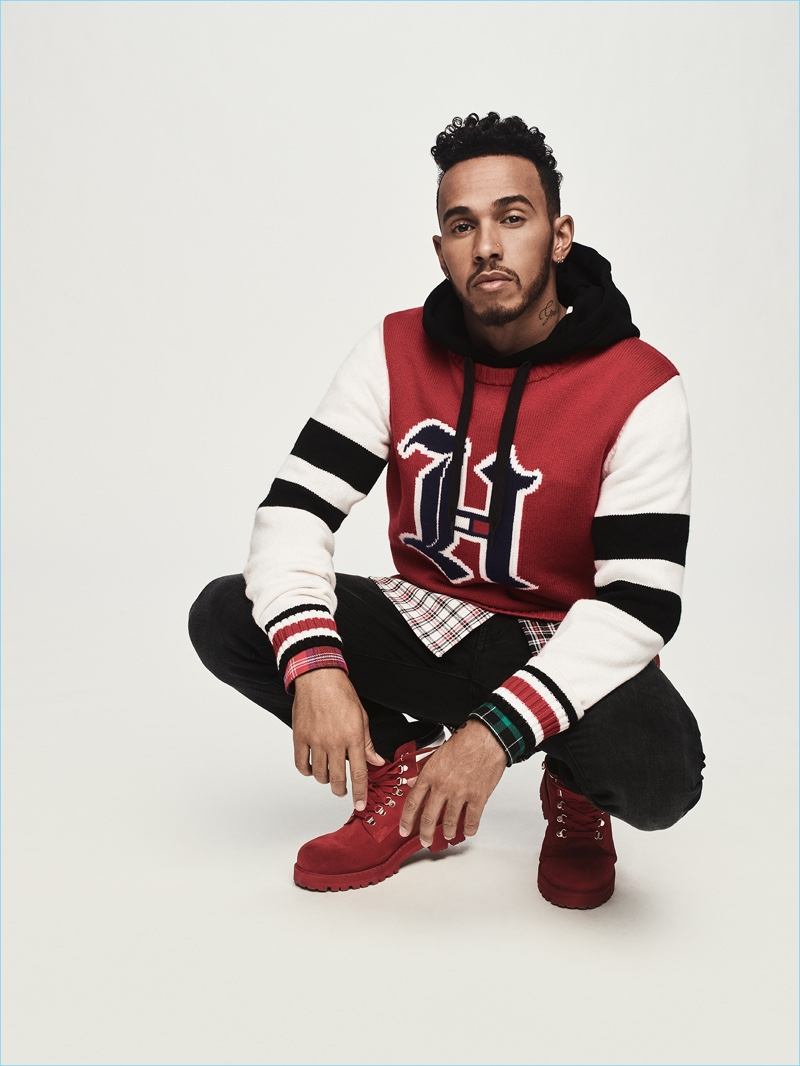 0d58192dd6 Lewis Hamilton wears a look from his fall-winter 2018 collaboration with Tommy  Hilfiger.