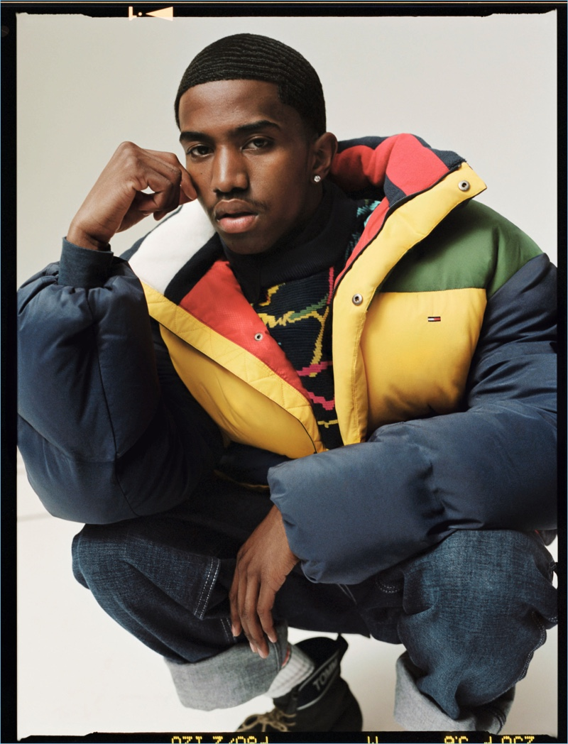 Sporting a puffer jacket, Christian Combs appears in Tommy Jeans' fall-winter 2018 campaign.