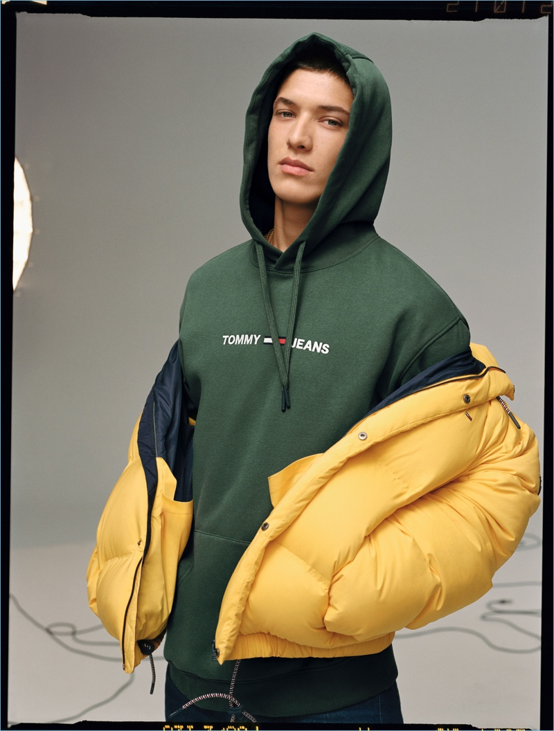 Front and center, Aaron Unknown appears in Tommy Jeans' fall-winter 2018 campaign.