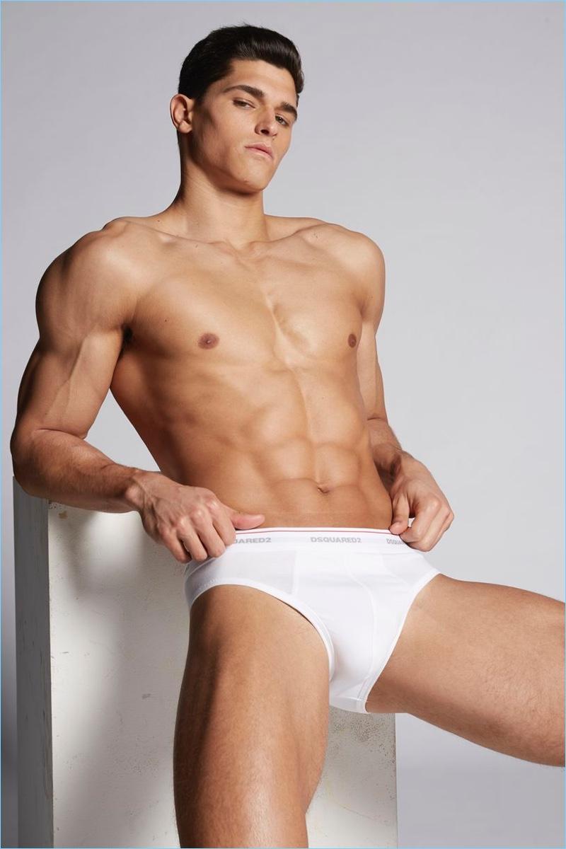 Trevor Signorino models Dsquared2 briefs.