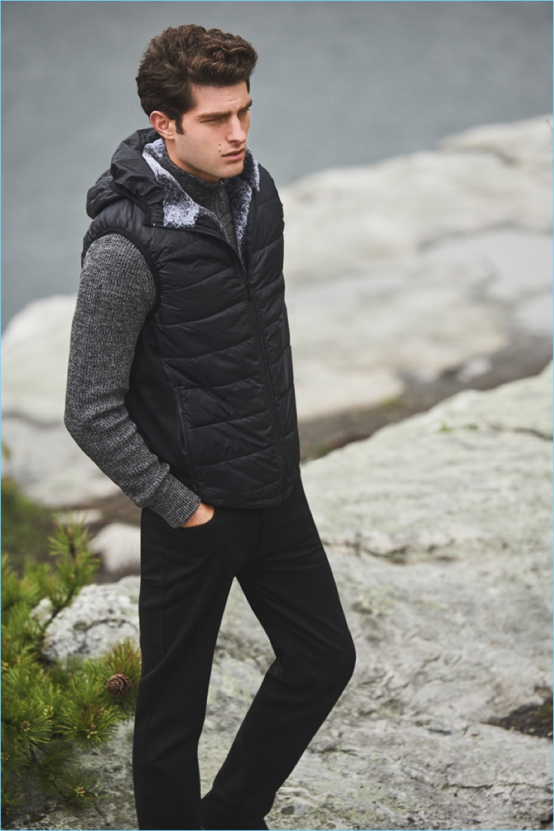 Venturing outdoors, Paolo Anchisi stars in Vince Camuto's fall-winter 2018 campaign.