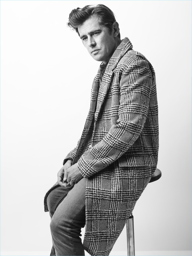 Donning a check coat, Werner Schreyer stars in Zadig & Voltaire's fall-winter 2018 campaign.