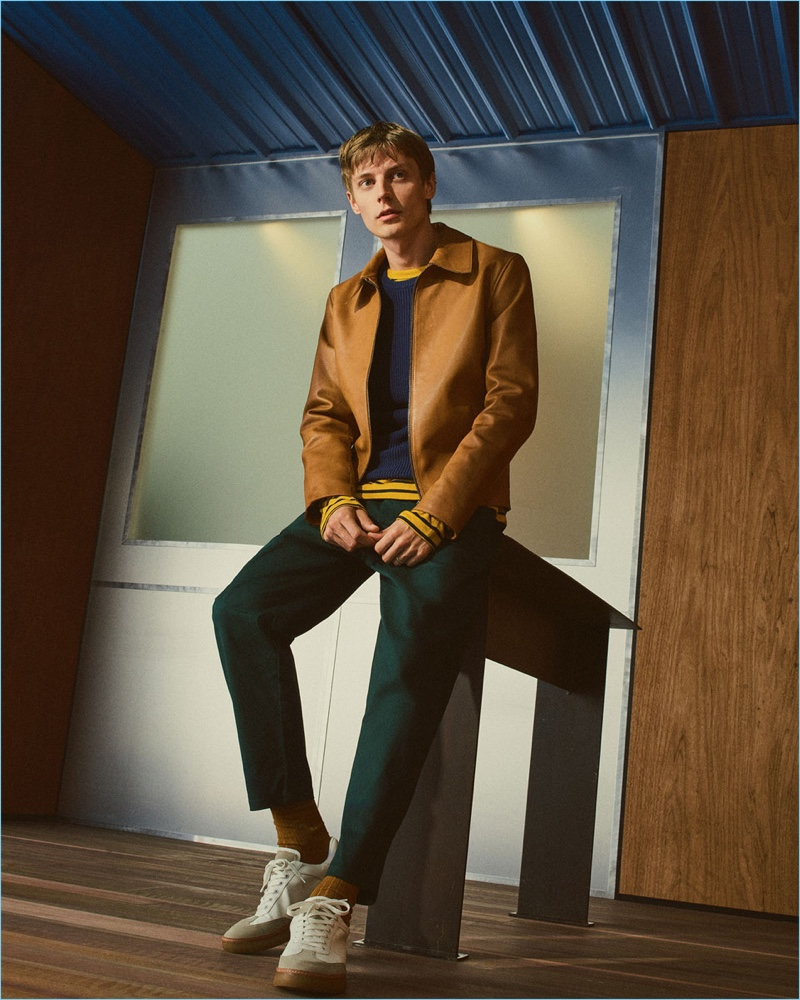 Model Janis Ancens sports smart separates from Zara Man.