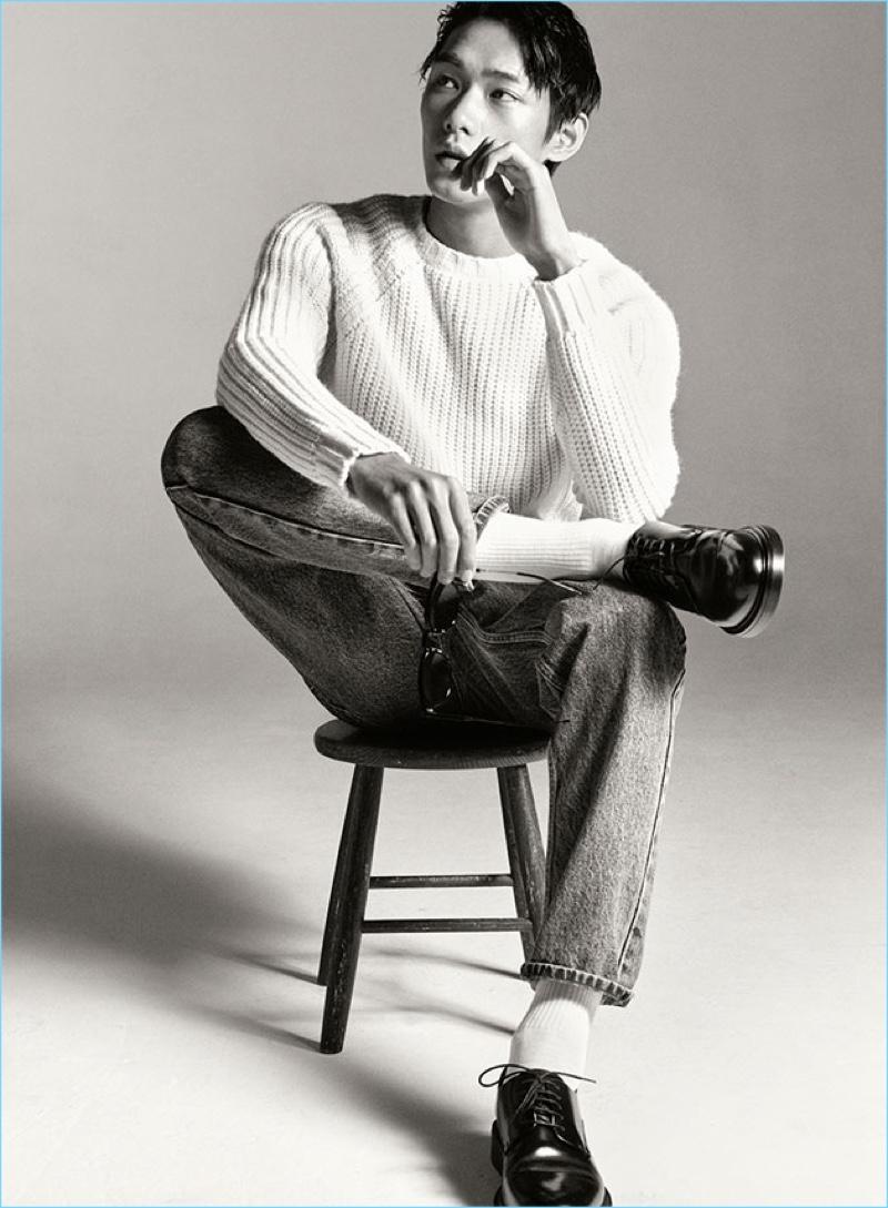Yuan Bo models essential denim jeans from Zara Man.