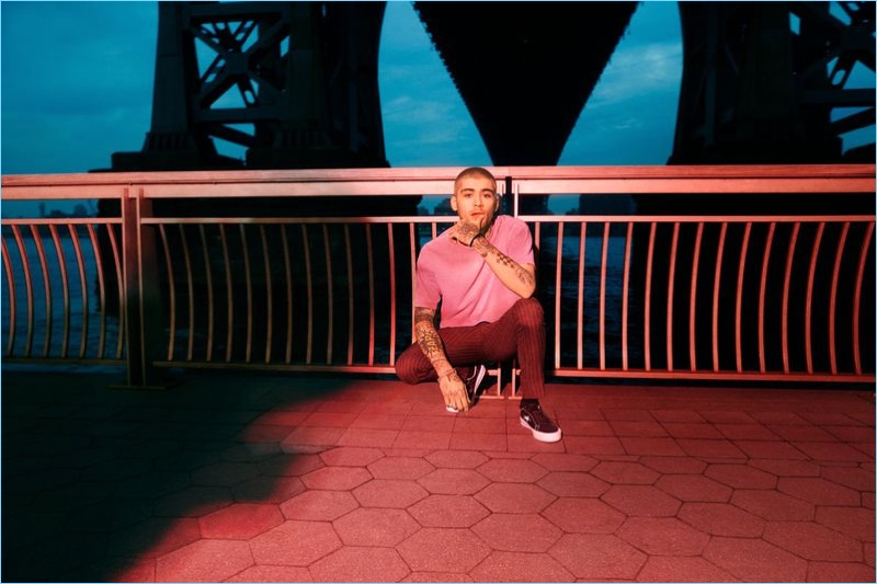 Front and center, Zayn Malik appears in the Converse One Star Carnival collection campaign.