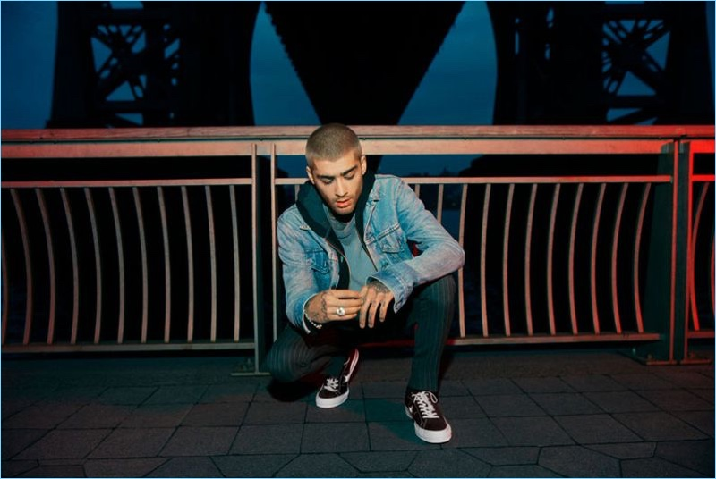 Sporting denim, Zayn Malik stars in the Converse One Star Carnival collection campaign.