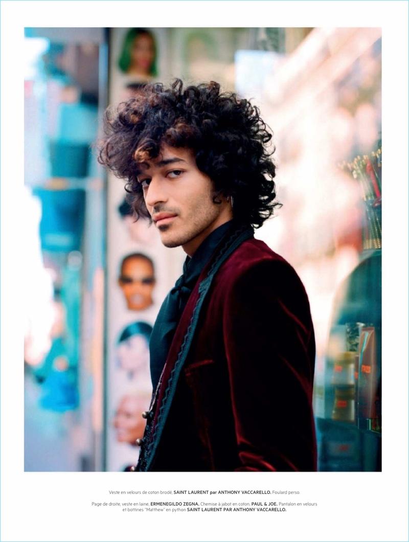 Adam Naas Dons Rock Style for L'Officiel Hommes Paris