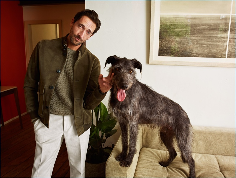 Adrien Brody stars in Mango's fall-winter 2018 campaign with his dog Opi.