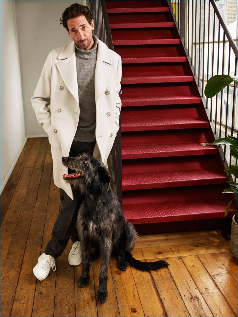 Actor Adrien Brody fronts Mango's fall-winter 2018 campaign with his dog Opi.