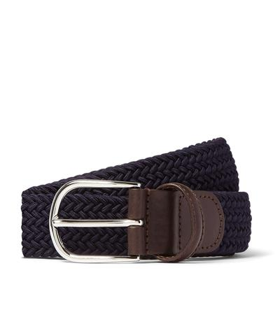 Anderson's Leather Stretch Woven Belt in Navy