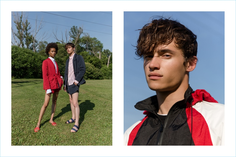 Cleo (Plutino Models) and Pierre-Alexandre Gosee (Next) star in Andrew Coimbra's spring-summer 2019 lookbook.