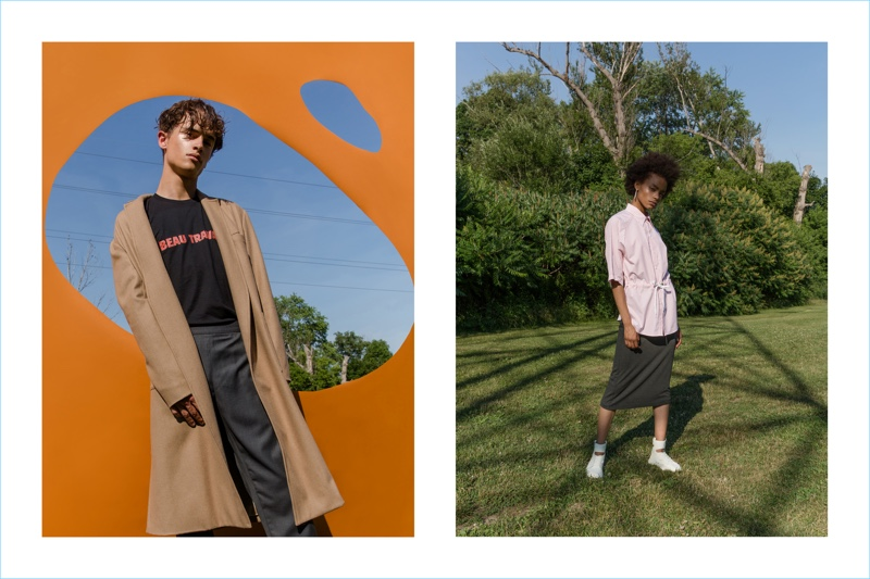 Andrew Coimbra enlists models Cleo (Plutino Models) and Pierre-Alexandre Gosee (Next) to appear in its spring-summer 2019 lookbook.