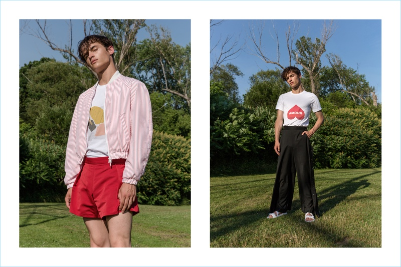 Pierre-Alexandre Gosee sports looks from Andrew Coimbra's spring-summer 2019 collection.