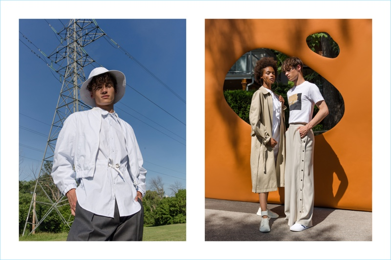 Models Cleo (Plutino Models) and Pierre-Alexandre Gosee (Next) appear in Andrew Coimbra's spring-summer 2019 lookbook.