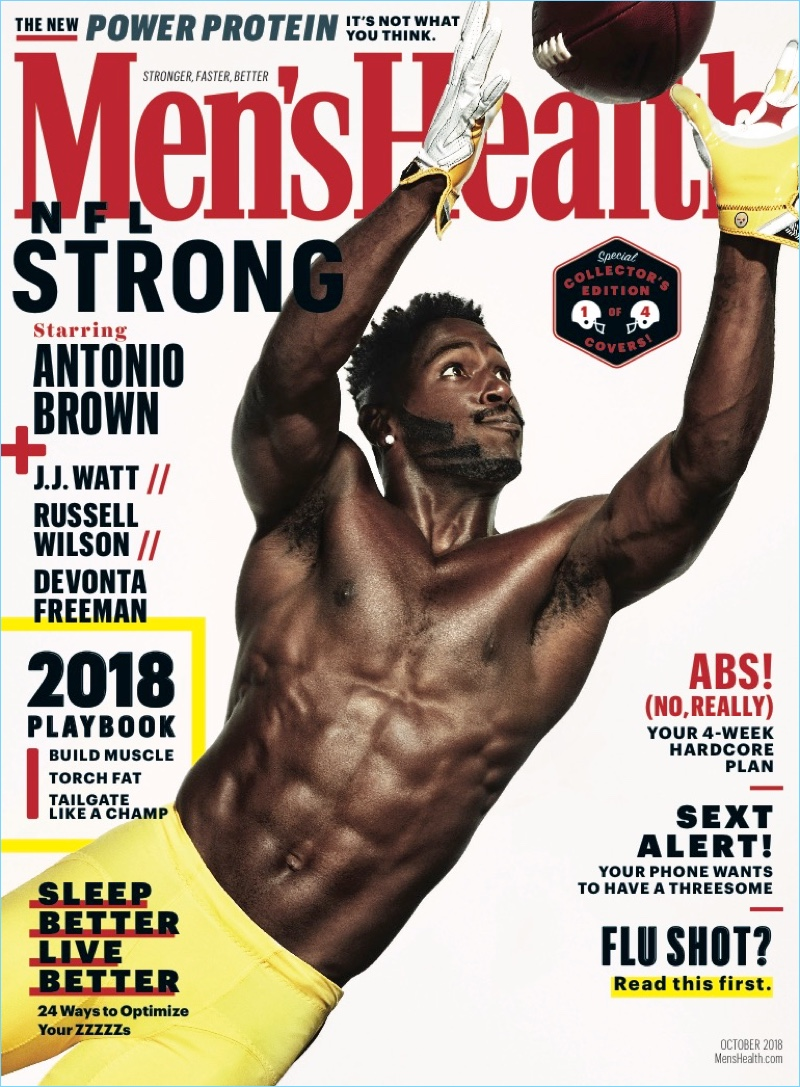Antonio Brown covers the October 2018 issue of Men's Health.