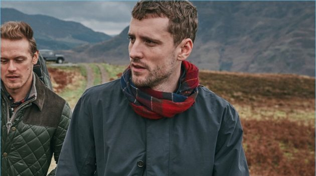 Sam Heughan and George Barnett wear pieces from Barbour's fall-winter 2018 tartan collection.