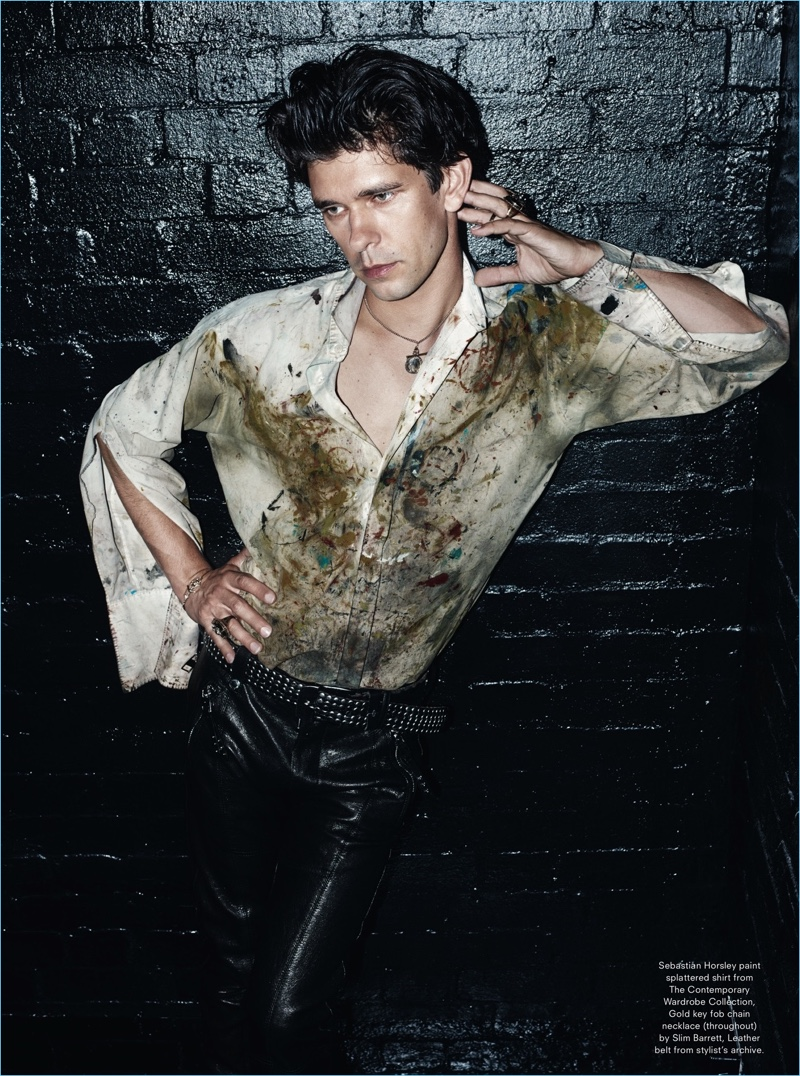 Rocking leather pants, Ben Whishaw wears a Sebastian Horsley paint splattered shirt from The Contemporary Wardrobe Collection.