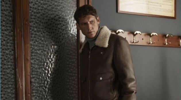 Roch Barbot sports a shearling aviator jacket and jeans from Brunello Cucinelli's exclusive Mr Porter collection.