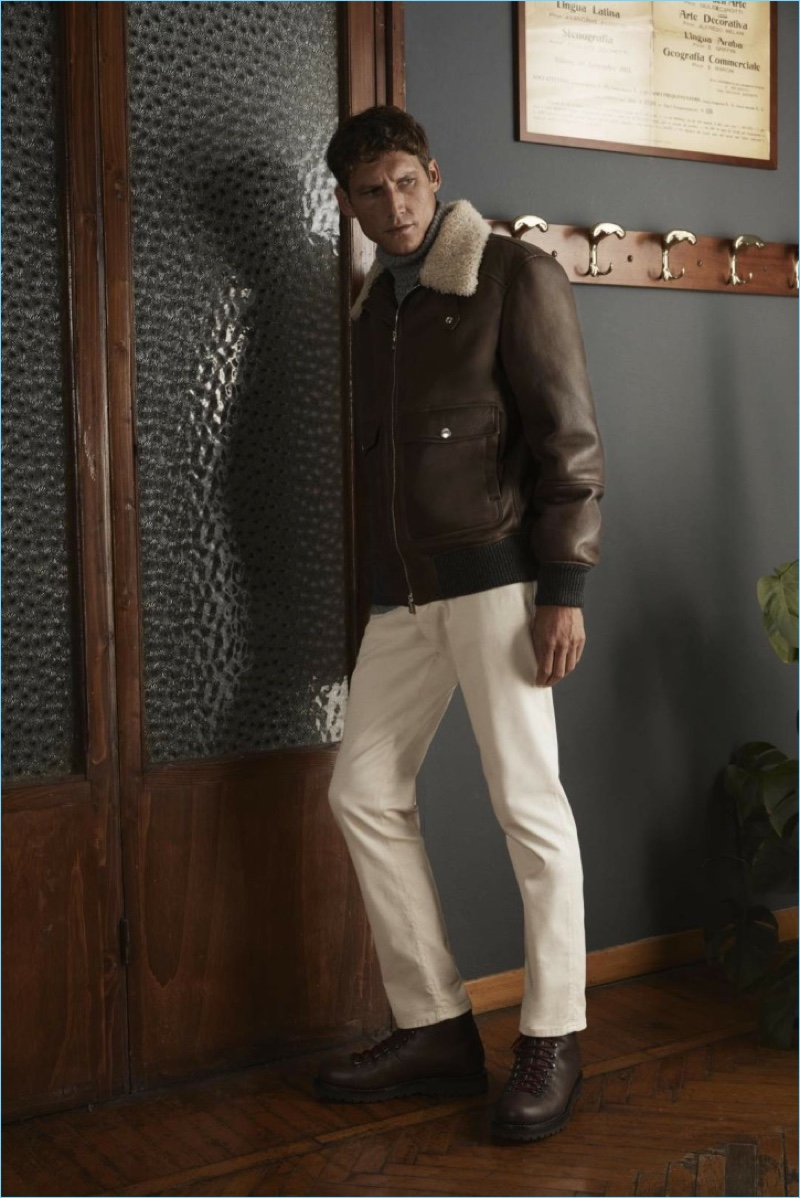 41e27acea9f59 Roch Barbot sports a shearling aviator jacket and jeans from Brunello  Cucinelli s exclusive Mr Porter collection