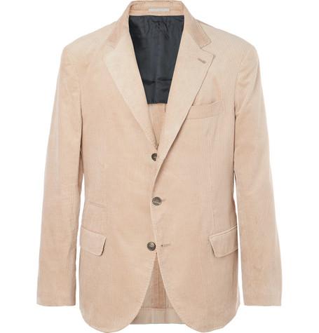 Brunello Cucinelli - Beige Slim-Fit Sea Island Cotton-Corduroy Suit Jacket - Camel