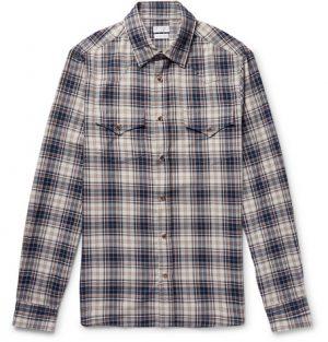 Brunello Cucinelli - Checked Cotton Western Shirt - Storm blue