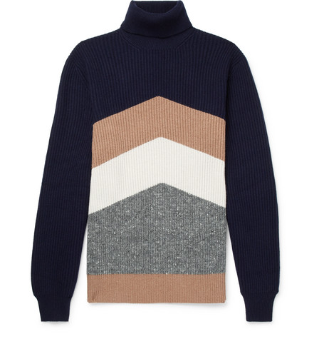 Brunello Cucinelli - Chevron Ribbed Virgin Wool, Cashmere and Silk-Blend Rollneck Sweater - Navy