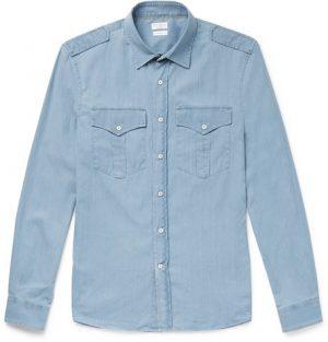 Brunello Cucinelli - Cotton-Chambray Shirt - Light blue