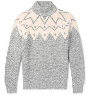 Brunello Cucinelli - Fair Isle Wool-Blend Sweater - Gray