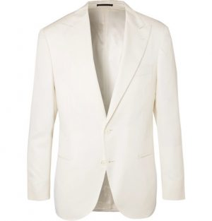 Brunello Cucinelli - Off-White Slim-Fit Wool and Silk-Blend Tuxedo Jacket - Off-white
