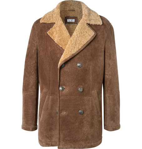 Brunello Cucinelli - Shearling Peacoat - Brown
