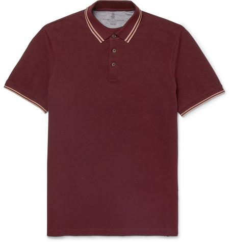Brunello Cucinelli - Slim-Fit Contrast-Tipped Cotton-Piqué Polo Shirt - Burgundy