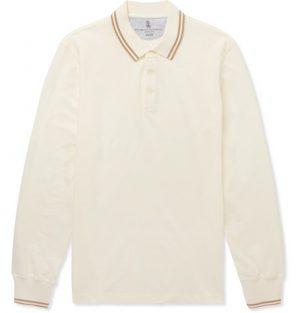 Brunello Cucinelli - Slim-Fit Contrast-Tipped Cotton-Piqué Polo Shirt - White