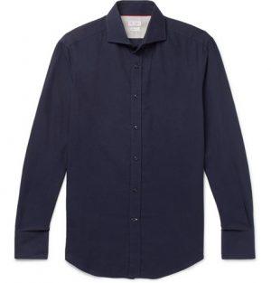 Brunello Cucinelli - Slim-Fit Cutaway-Collar Cotton-Twill Shirt - Blue