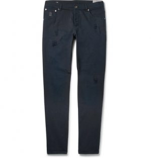 Brunello Cucinelli - Slim-Fit Distressed Stretch-Denim Jeans - Navy