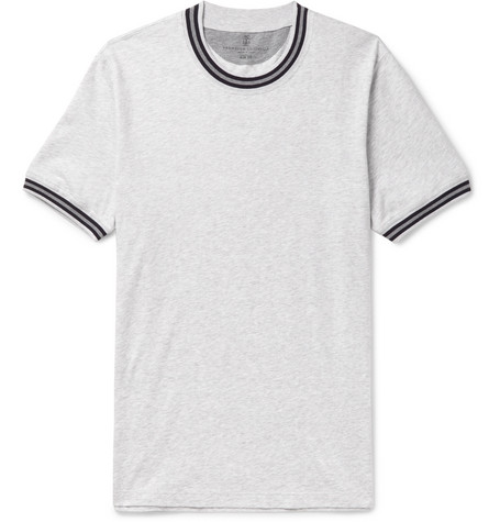 Brunello Cucinelli - Slim-Fit Stripe-Trimmed Mélange Cotton-Jersey T-Shirt - Light gray