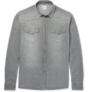 Brunello Cucinelli - Slim-Fit Washed-Denim Western Shirt - Gray