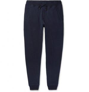 Brunello Cucinelli - Tapered Cotton-Blend Jersey Sweatpants - Navy