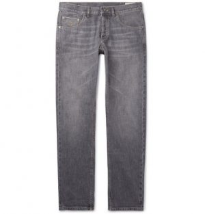 Brunello Cucinelli - Washed Selvedge Denim Jeans - Gray