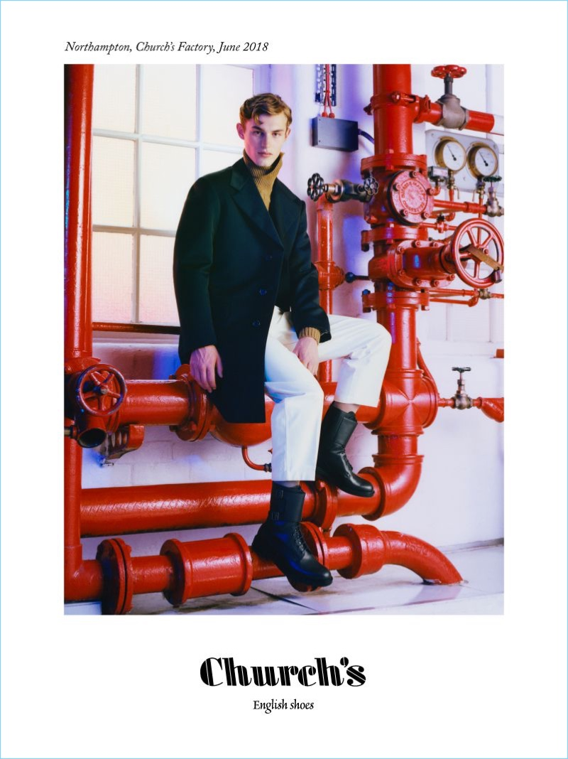 British model Kit Butler fronts Church's fall-winter 2018 campaign.
