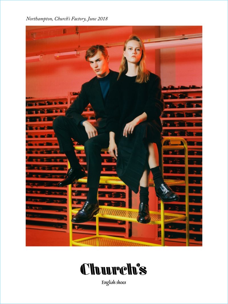 Models Kit Butler and Julie Hoomans star in Church's fall-winter 2018 campaign.