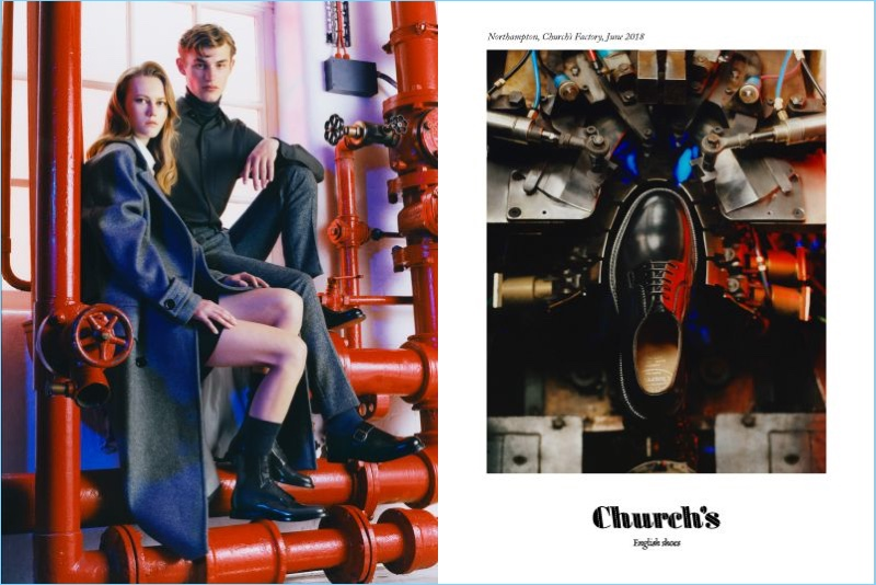 Scandebergs photographs Kit Butler and Julie Hoomans for Church's fall-winter 2018 campaign.